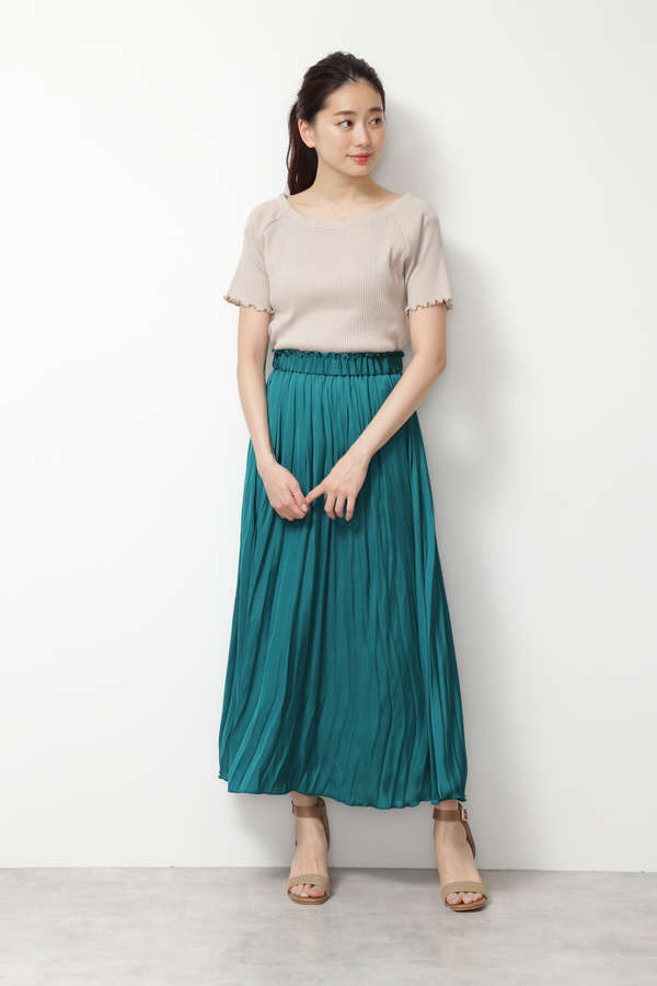 [Easy Rustic] モイストサテン プリーツスカート