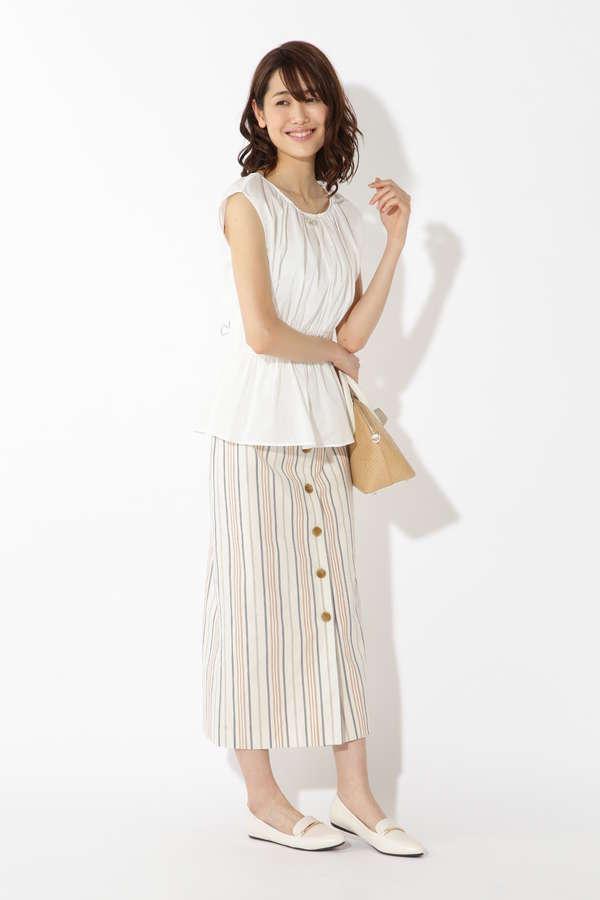 [Easy Rustic] マルチストライプスカート