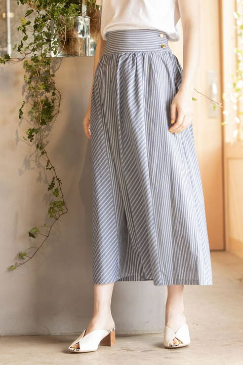 [Easy Rustic] ストライプブロッキング スカート