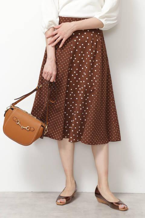 [洗える]ミックスドットプリントスカート