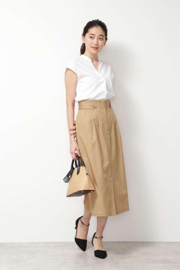 [洗える/接触冷感]ハイウエストナロースカート