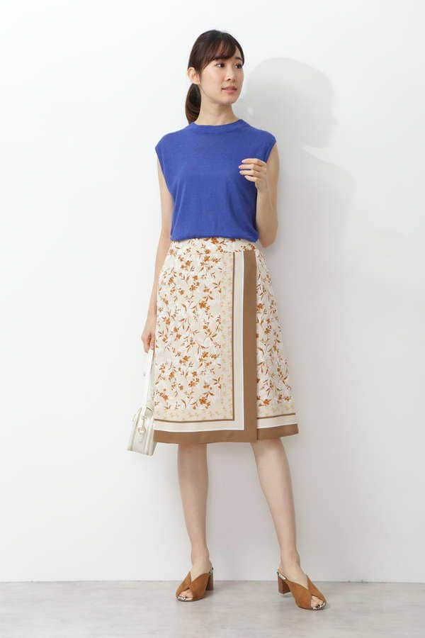 [洗える]パネルスカーフプリントスカート