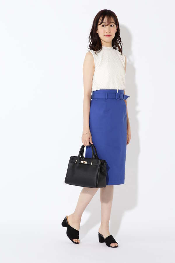 [洗える]ベルテッドタイトスカート