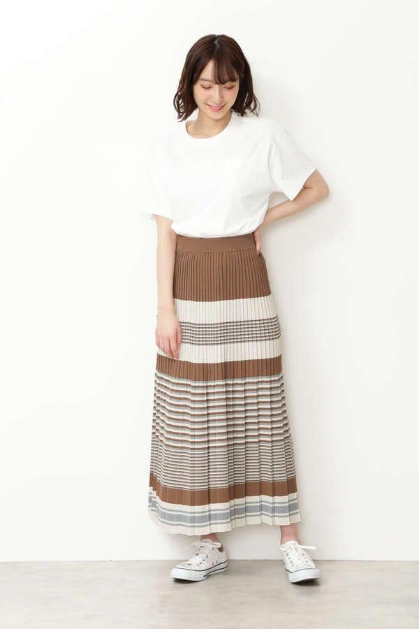 [WEB限定 Easy Rustic] マルチボーダーニットスカート