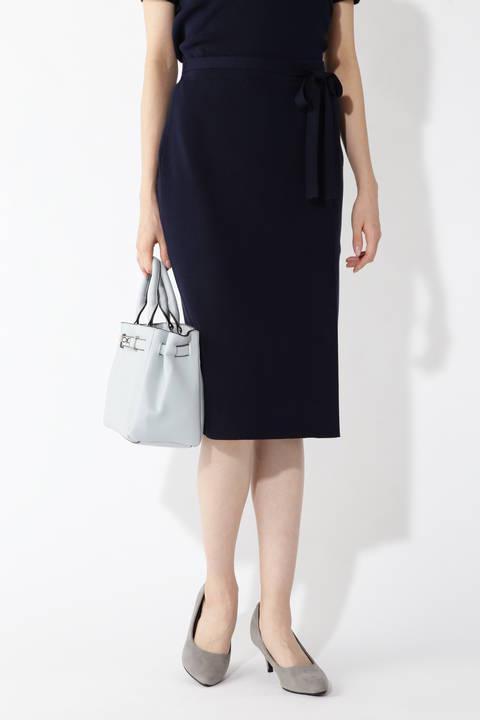 ラップディテールニットスカート