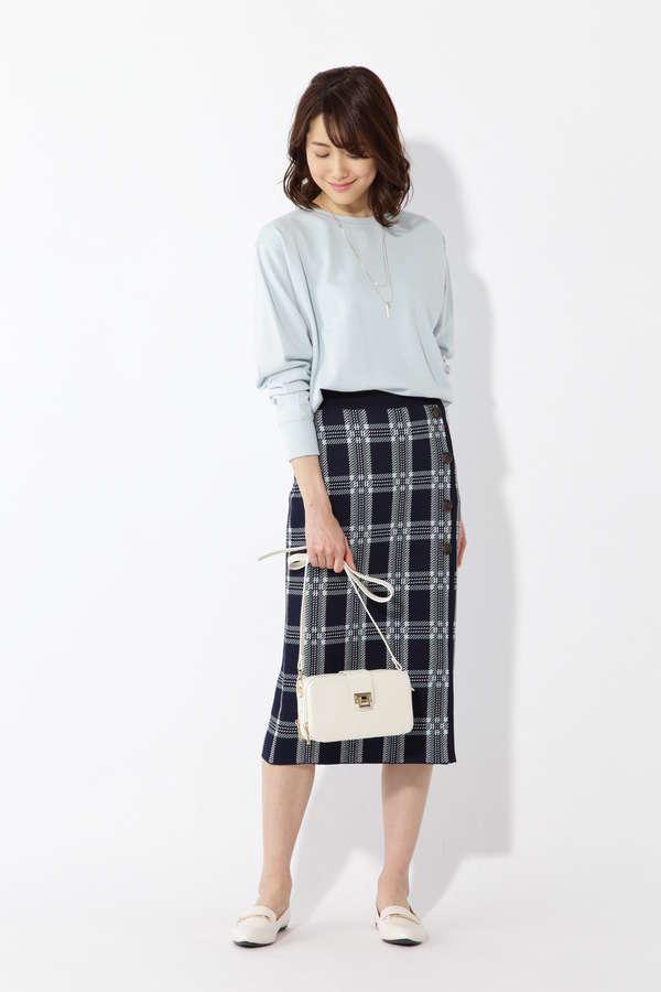 サイド釦ニットスカート