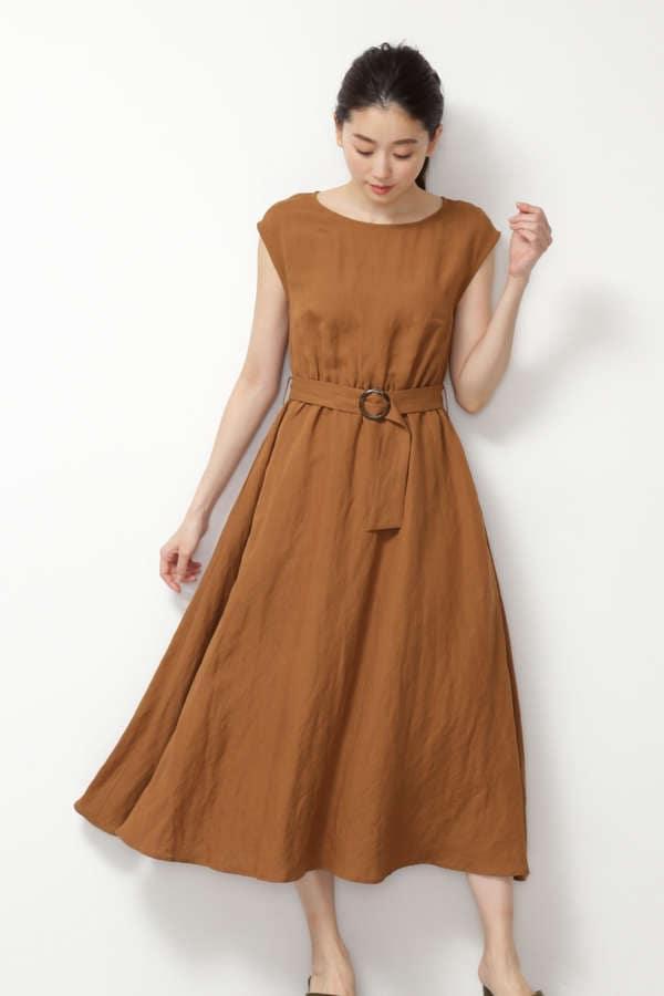 [Easy Rustic] リネンレーヨンクロス マキシワンピース