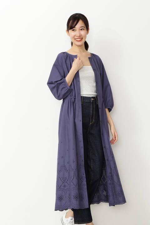 【先行予約_4月上旬-中旬入荷予定】コットンローン刺繍 羽織りワンピ