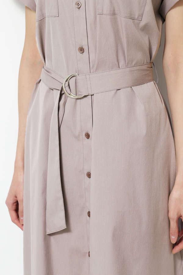 [洗える]Dカンベルテッドシャツワンピース