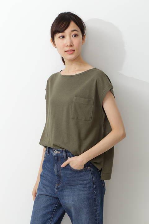 ウォッシャブル麻混Tシャツ