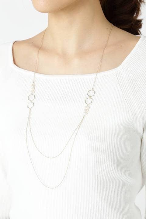 ヘキサゴンパーツ2連ネックレス