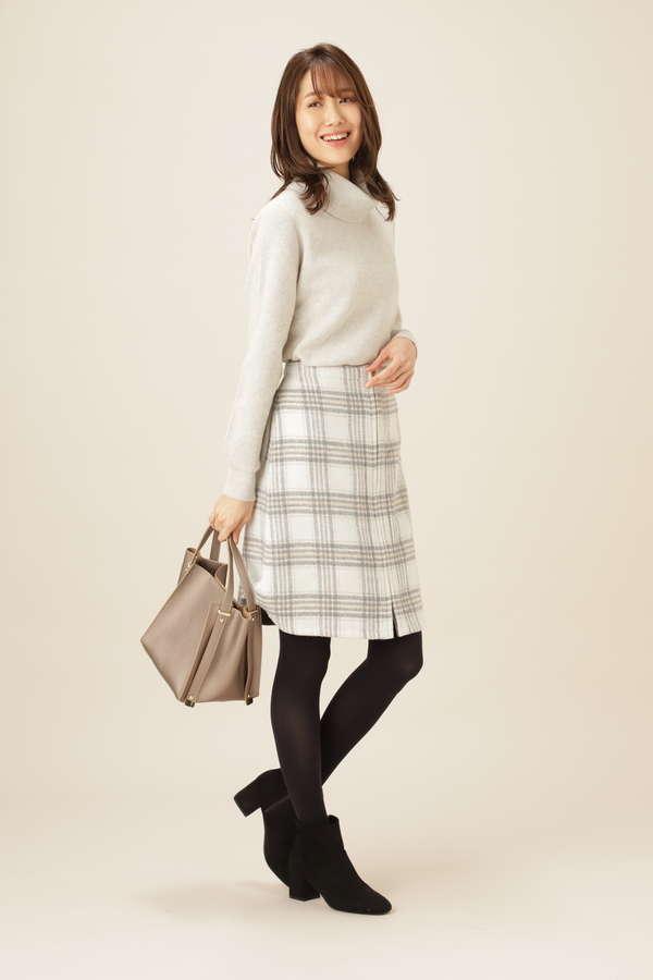 リバーシブルチェック 台形スカート