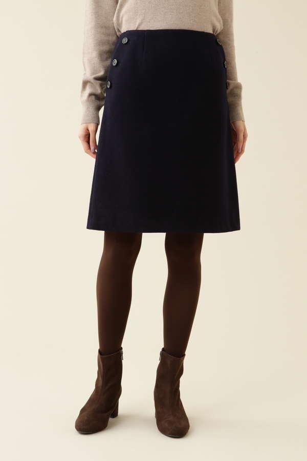 [洗える]ボタンディテール台形スカート