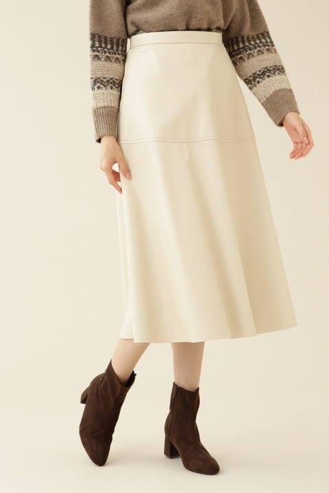 【先行予約_11月中旬-下旬入荷予定】フェイクレザーフレアスカート