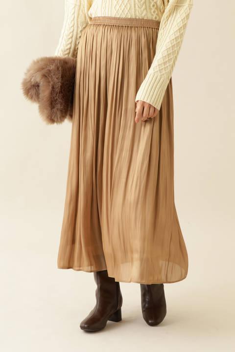 [洗える]サテンギャザースカート