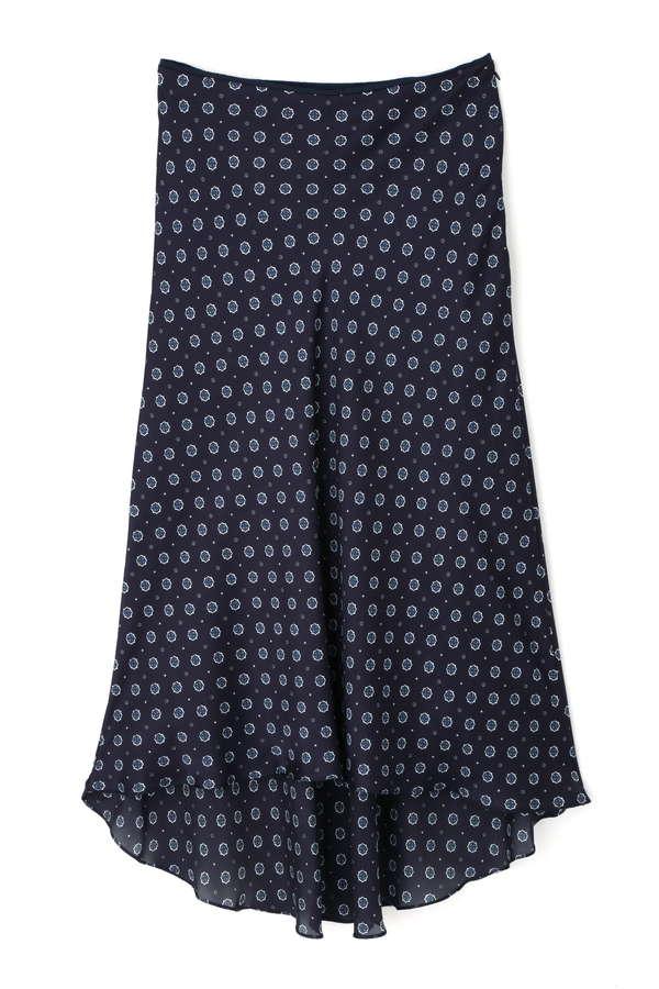 [洗える]小紋プリントイレヘムスカート