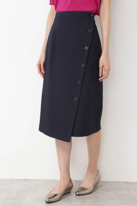 サイドボタンアシメナロースカート
