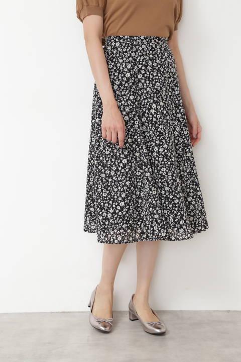 [洗える]プチフラワープリントカットジャガードスカート