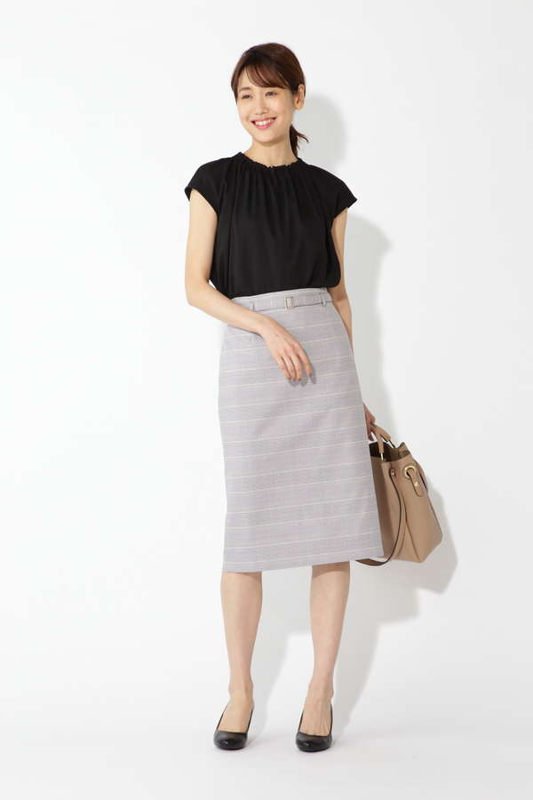 [洗える]杢チェックストレートスカート