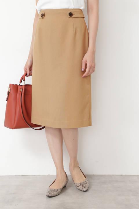 [洗える]ウエストボタンストレートスカート