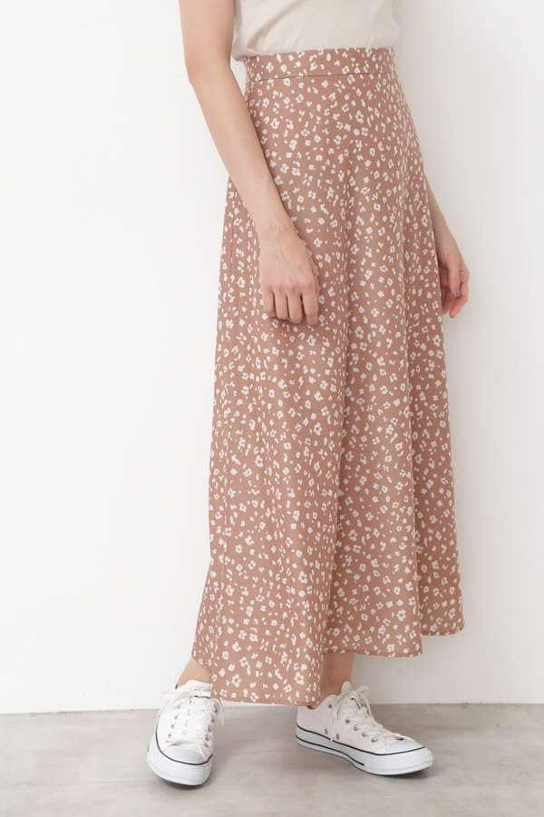 [洗える]アニマルフラワープリントスカート