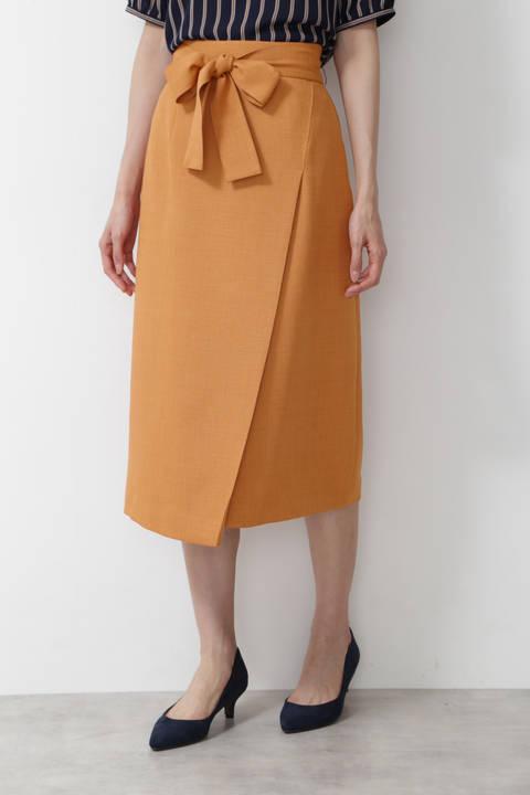 [洗える]ブッチャーラップディテールナロースカート