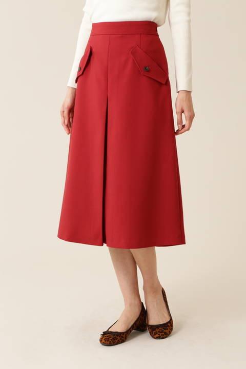 [洗える]フラップポケットAラインスカート