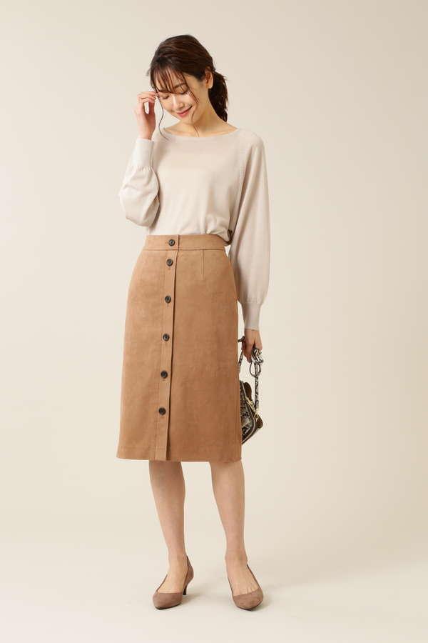 [洗える]フェイクスエードフロントボタンタイトスカート