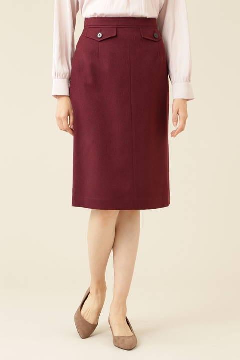 [洗える]ウールライクタイトスカート