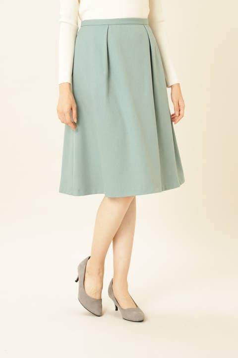 [洗える]ウールライクツイルフレアスカート