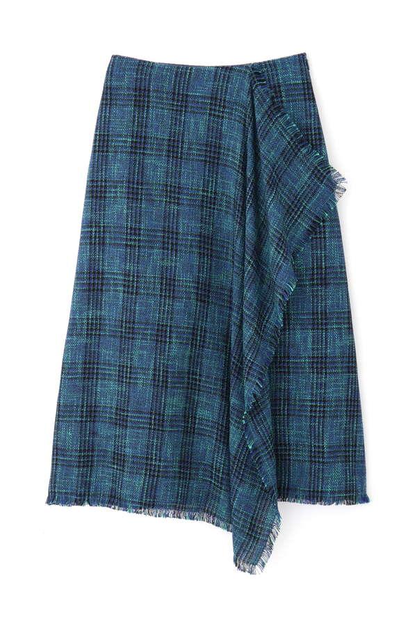 チェックフリンジスカート