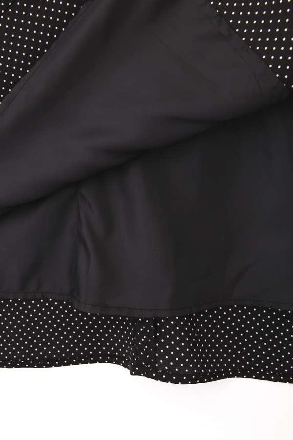 [洗える]ドット柄サテンラップスカート