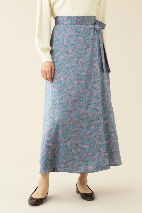 [洗える]フラワー柄サテンラップスカート