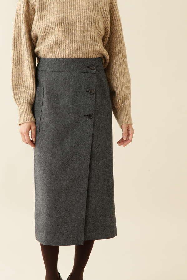 [洗える]ホームスパンスカート