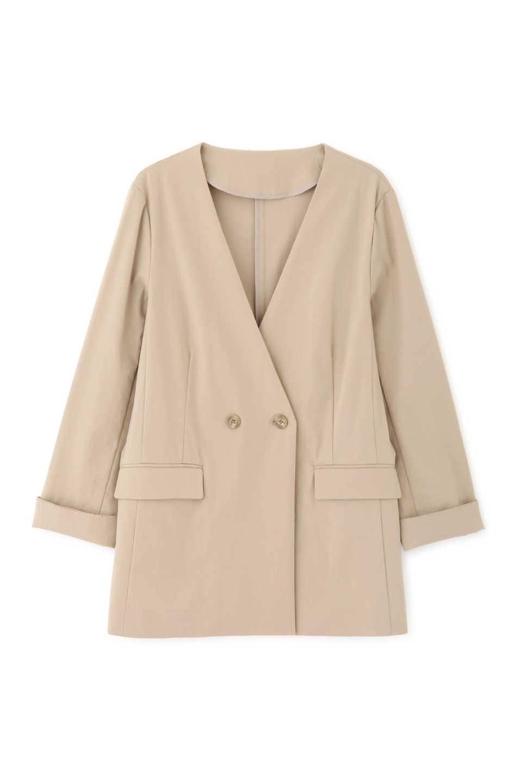 【公式/NATURAL BEAUTY BASIC】ロングテーラードジャケット/女性/ブルゾン/ベージュ/サイズ:L/レーヨン 54% ナイロン 29% 麻 14% ポリウレタン 3%