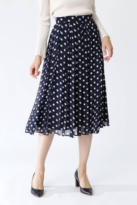 【先行予約 2月中旬-下旬入荷予定】シフォンドットプリントプリーツスカート