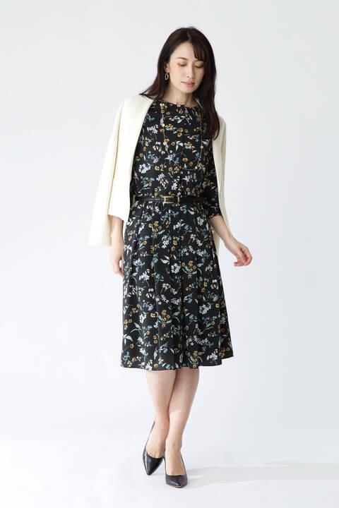 [ウォッシャブル]ボタニカルフラワーリバティプリントスカート