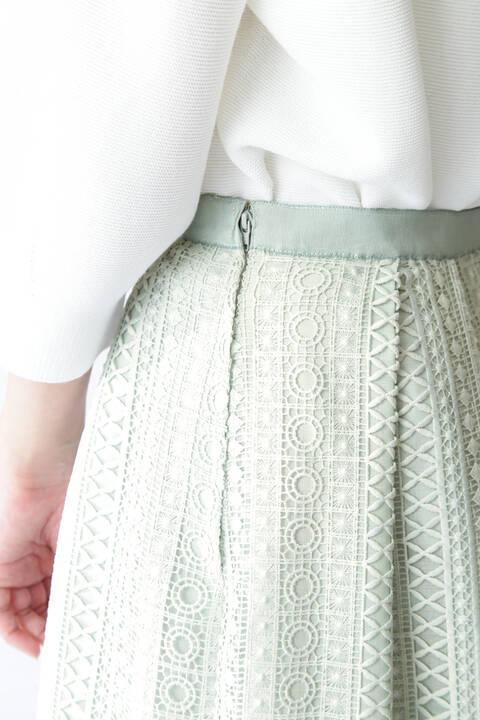 裾切り替えタックレーススカート