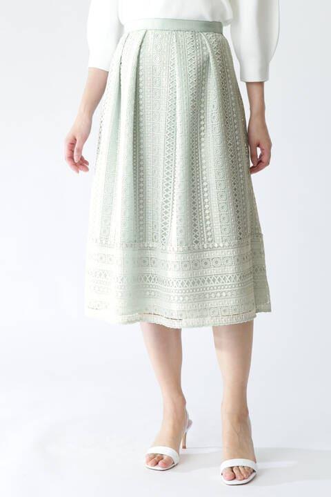 【先行予約 3月下旬-4月上旬入荷予定】裾切り替えタックレーススカート