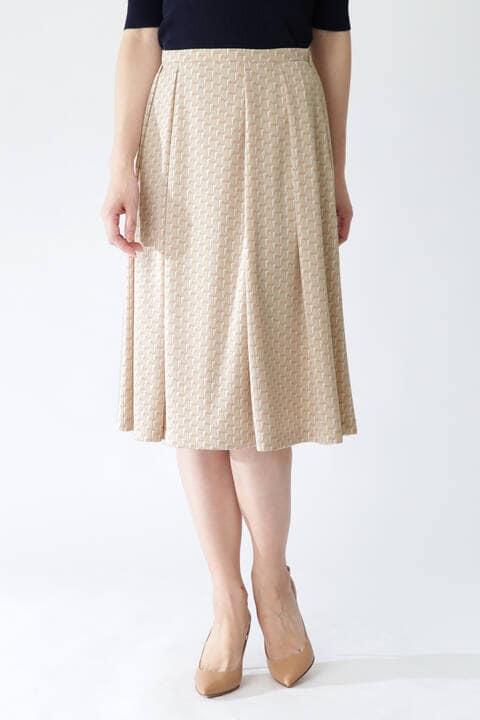 【先行予約 3月下旬-4月上旬入荷予定】[ウォッシャブル]グラフィカルジャージープリントスカート