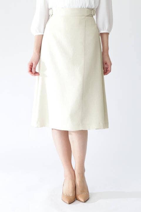 【先行予約 3月中旬-下旬入荷予定】[ウォッシャブル]リネンライクツイルフレアーラップスカート