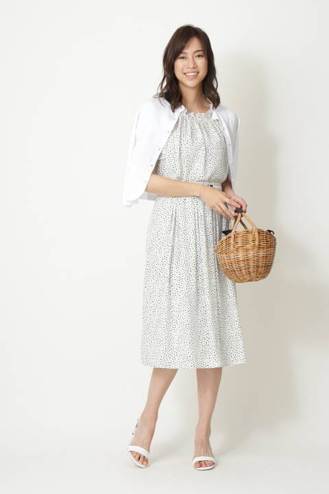 [ウォッシャブル]アニマルドットプリントスカート