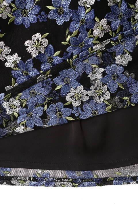 チュールドット刺繍スカート