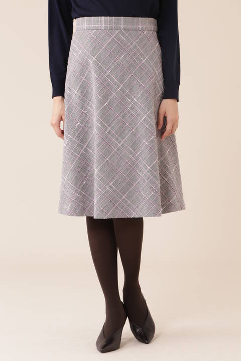 【皆川玲奈さん着用】カラーチェックツィードスカート