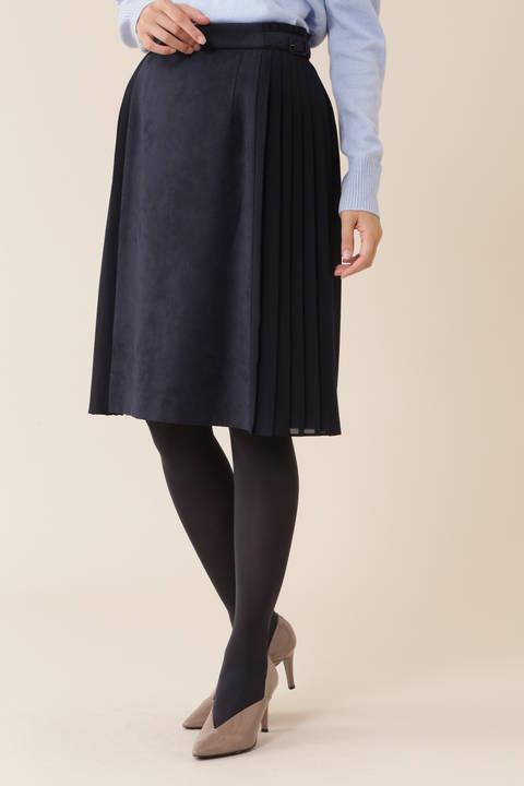 【久富慶子さん着用】エルモザスエードサイドプリーツフレアスカート