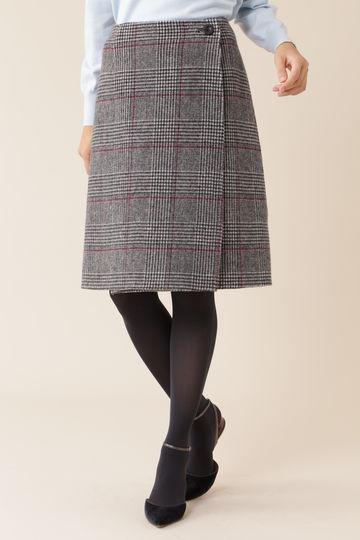 【先行予約 10月中旬-10月下旬入荷予定】チェック柄リバーシブルラップスカート