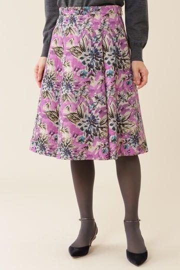 【久富慶子さん着用】《Purpose》ジャガードグランドフラワープリントスカート