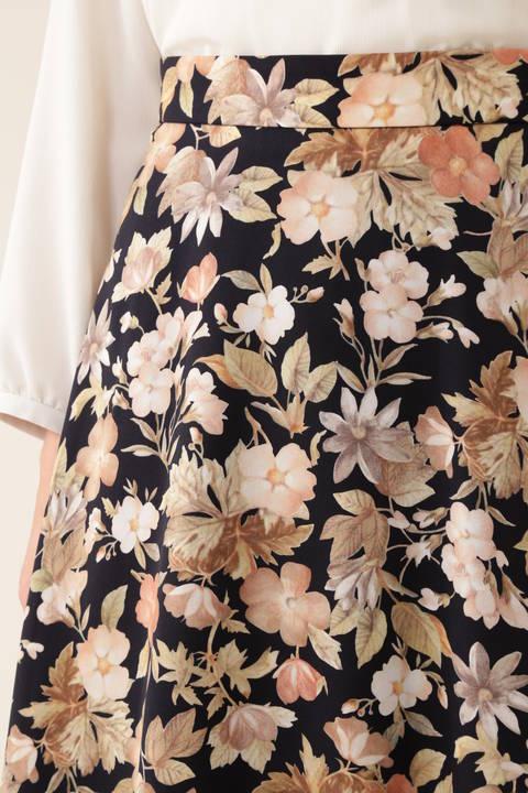 [ウォッシャブル]《Purpose》デジタルフラワースカート