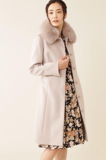 【先行予約 10月下旬 入荷予定】カシミヤ混フォックスファー襟ロングウールコート