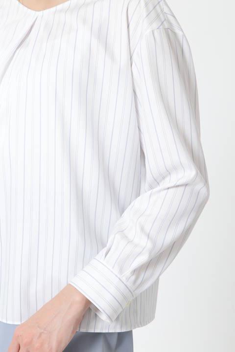 【アナウンサー 宇賀なつみさん着用】ランダムストライプタック襟ブラウス